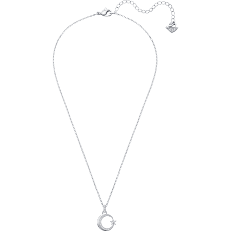 Crescent Star Pendant, White, Rhodium plated - Swarovski, 5369161