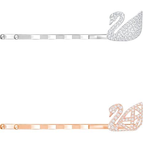 Iconic Swan 發卡套裝, 白色, 混搭多種鍍層 - Swarovski, 5369577