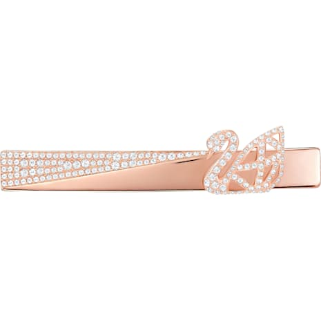 Facet Swan Hair Clip, Rose gold plating - Swarovski, 5369578