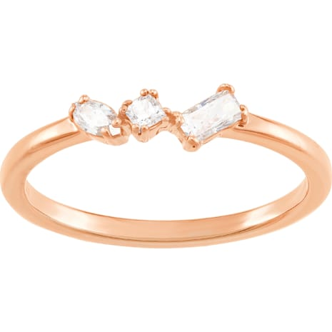 Frisson Ring, White, Rose-gold tone plated - Swarovski, 5370995