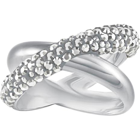 Crystaldust Cross Ring, Gray, Palladium plating - Swarovski, 5372886