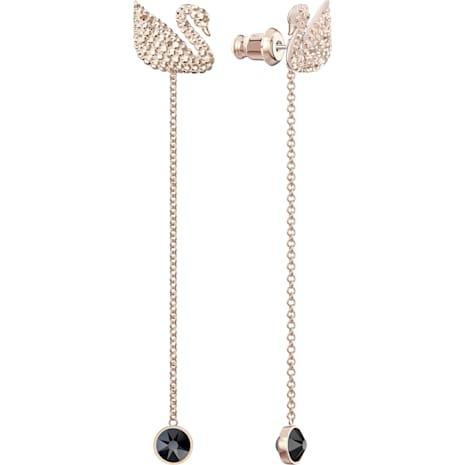 Orecchini Swarovski Iconic Swan, marrone, Placcato oro rosa - Swarovski, 5373164