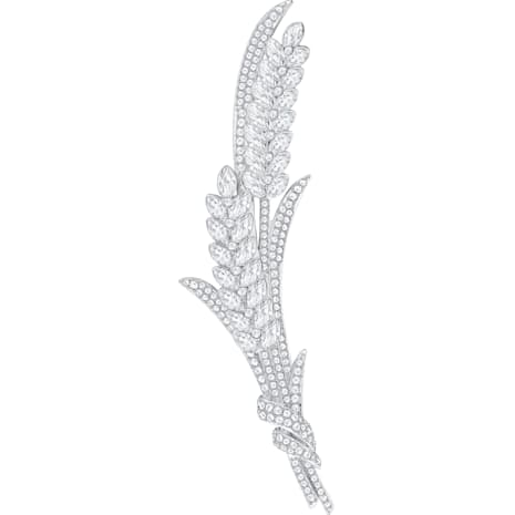 Lucia Brooch, White, Rhodium plated - Swarovski, 5374873