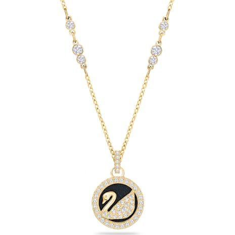 Leather Swan Pendant, White, Gold-tone plated - Swarovski, 5374919