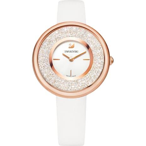 Crystalline Pure Watch, Leather strap, White, Rose-gold tone PVD - Swarovski, 5376083