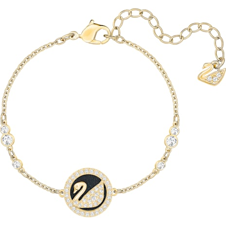 Leather Swan Bracelet White Gold Tone Plated