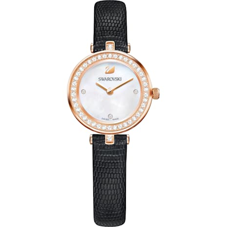 Aila Dressy Mini Watch, Leather strap, Black, Rose-gold tone PVD - Swarovski, 5376642