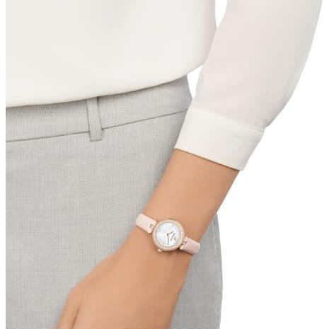 Aila Dressy Mini Watch, Leather strap, Pink, Champagne-gold tone PVD - Swarovski, 5376648