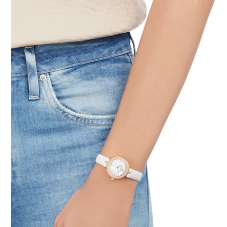 Aila Dressy Mini Watch, Leather strap, White, Rose-gold tone PVD - Swarovski, 5376651