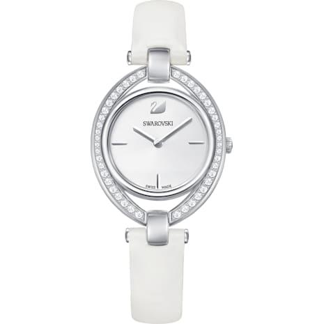 Stella Uhr, Lederarmband, weiss, Edelstahl - Swarovski, 5376812