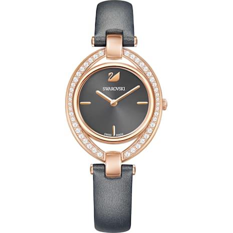Montre Stella, Bracelet en cuir, gris foncé, PVD doré rose - Swarovski, 5376842