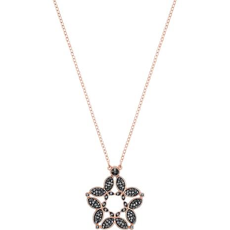 Fiancé Butterfly Necklace, Black, Rose-gold tone plated - Swarovski, 5376935