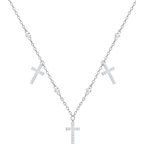 Gargantilla Mini Cross, blanco, baño de rodio - Swarovski, 5377792