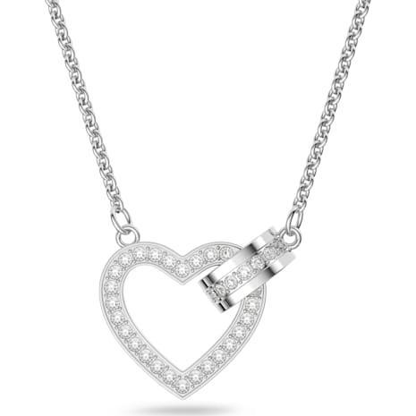 Lovely Necklace, White, Rhodium plated - Swarovski, 5380703