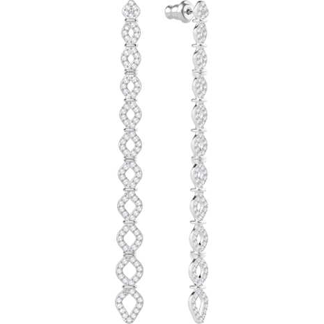Lace Pierced Earrings, White, Rhodium plated - Swarovski, 5382356