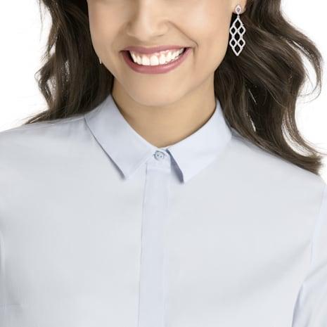 Lace Chandelier Pierced Earrings, White, Rhodium plated - Swarovski, 5382358