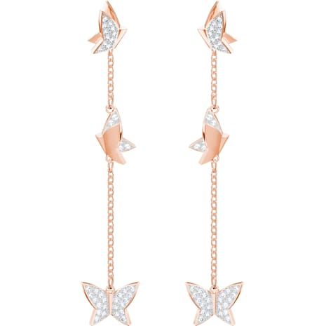 Lilia Pierced Earrings, White, Rose-gold tone plated - Swarovski, 5382364