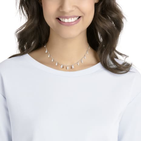 Attract Pear Necklace, White, Rhodium plated - Swarovski, 5384371