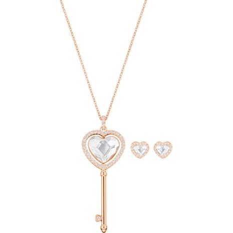 Engaged Heart Set, White, Rose-gold tone plated - Swarovski, 5385650