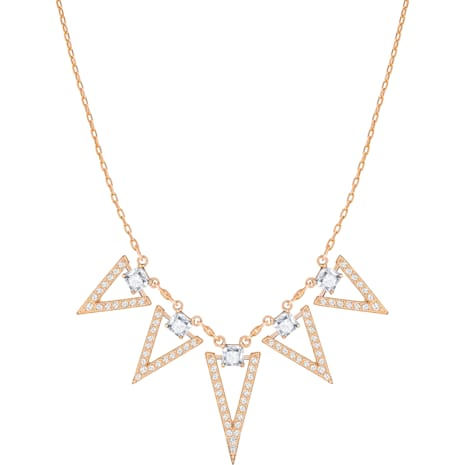 Funk Necklace, Large, White, Rose-gold tone plated - Swarovski, 5385656