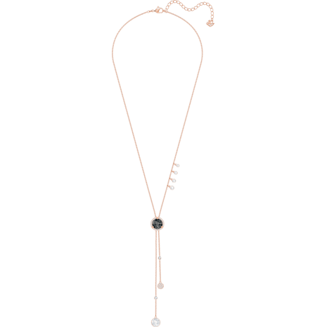 Lucy Round Y Necklace, Black, Rose-gold tone plated - Swarovski, 5389037