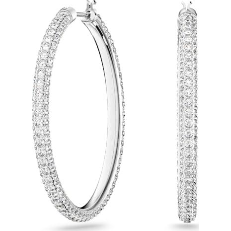 Stone 穿孔耳環, 白色, 鍍白金色 - Swarovski, 5389432