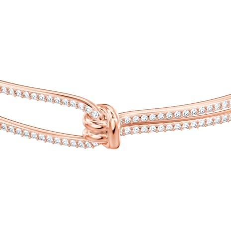 Bracelet-jonc Lifelong, blanc, Métal doré rose - Swarovski, 5390818