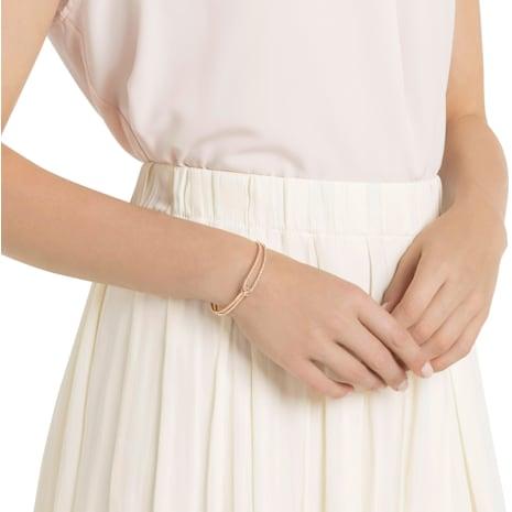 Lifelong Bangle, White, Rose-gold tone plated - Swarovski, 5390818