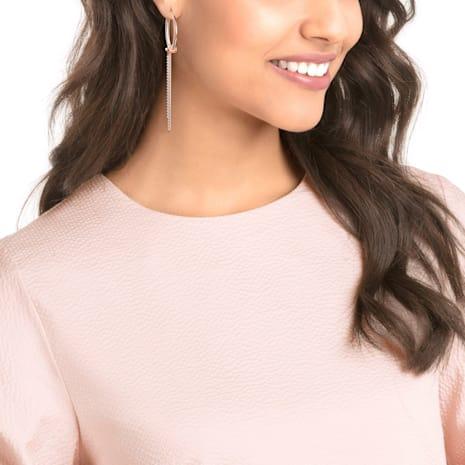 Lifelong Hoop Pierced Earrings, White, Rose-gold tone plated - Swarovski, 5390820