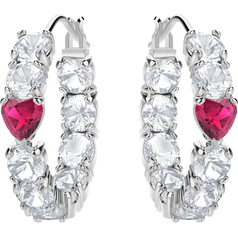 Love Hoop Pierced Earrings, White, Rhodium plated - Swarovski, 5391763