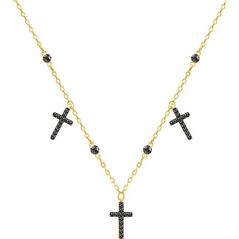 Mini Cross Choker, Gray, Gold-tone plated - Swarovski, 5395809