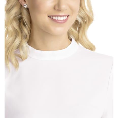 Sparkling Dance Flower Pierced Earrings White Rhodium Plated