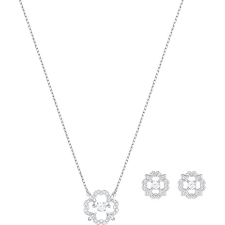 Parure Sparkling Dance Flower, blanc, Métal rhodié - Swarovski, 5397867