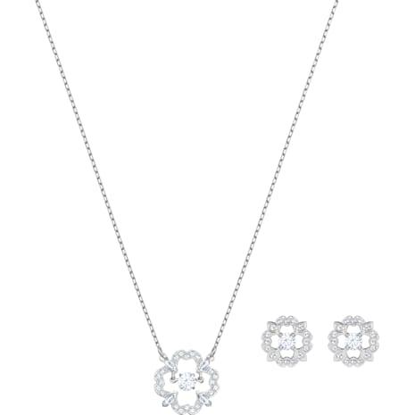 Sparkling Dance Flower Set, White, Rhodium plated - Swarovski, 5397867