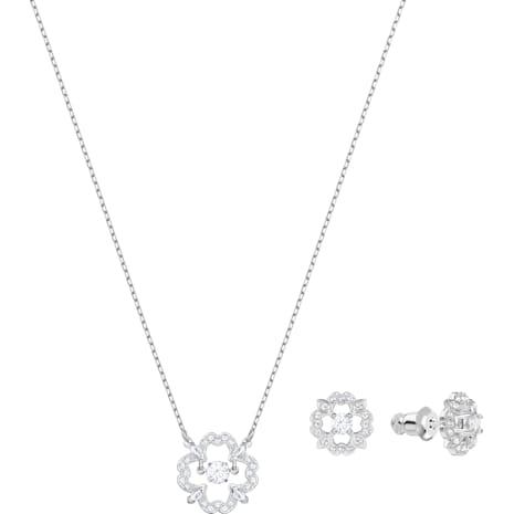 Set Sparkling Dance Flower, bianco, Placcatura rodio - Swarovski, 5397867