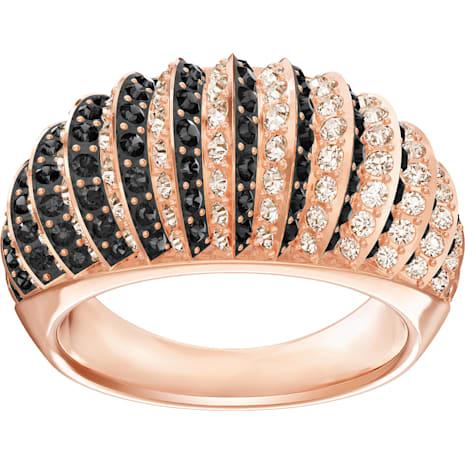 Luxury Domed Ring, Black, Rose-gold tone plated - Swarovski, 5406950