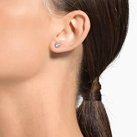 Boucles d'oreilles Attract Round, blanc, Métal rhodié - Swarovski, 5408436