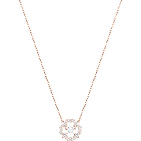 Sparkling Dance Pear Necklace, White, Rose-gold tone plated - Swarovski, 5408437