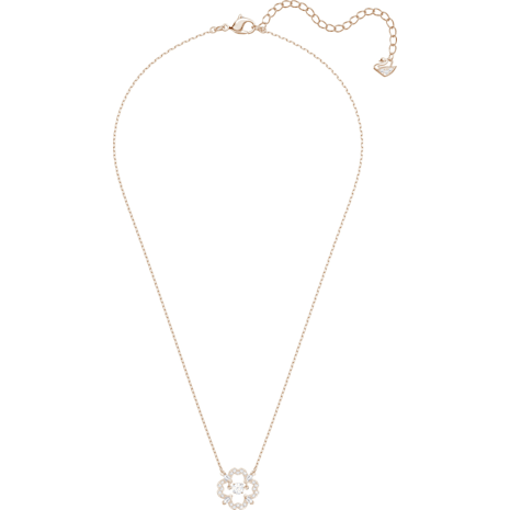 Sparkling Dance Pear Necklace, White, Rose-gold tone plated - Swarovski, 5408437