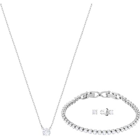 Attract Emily Set, White, Rhodium plating - Swarovski, 5408443