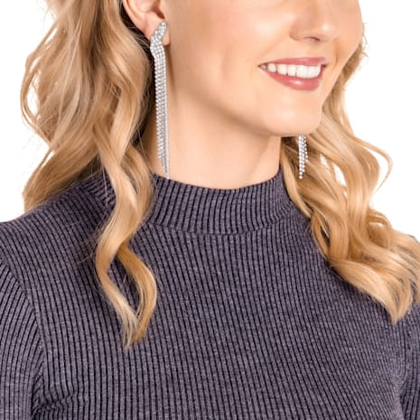 Fit Clip Earrings White Ruthenium Plated