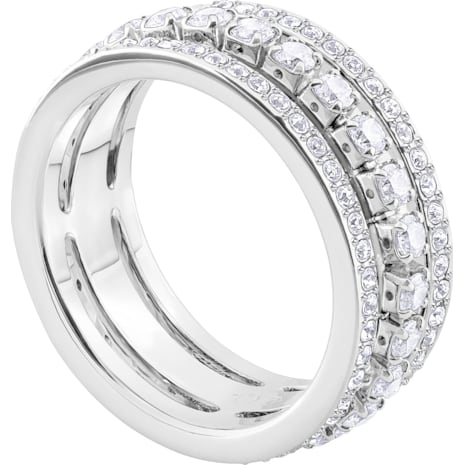 Further 戒指, 白色, 鍍白金色 - Swarovski, 5409642