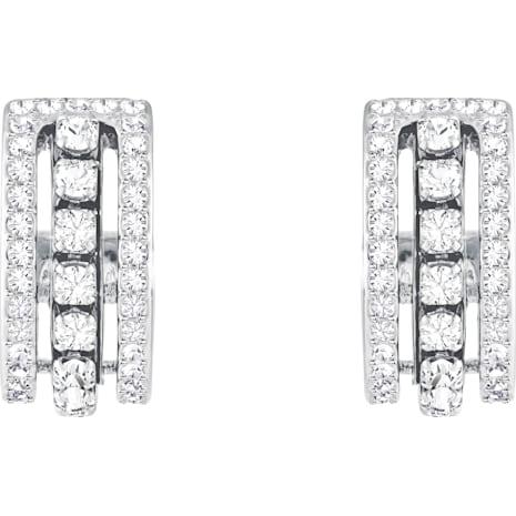 Further Pierced Earrings, White, Rhodium plated - Swarovski, 5409658