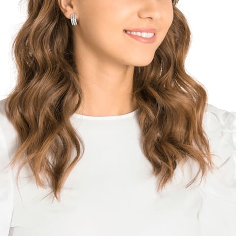 Further 穿孔耳環, 白色, 鍍白金色 - Swarovski, 5409658