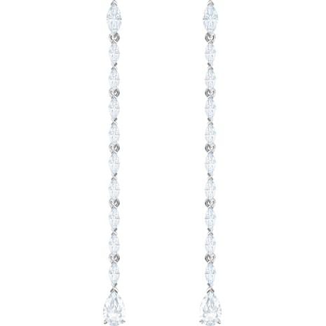 Pendientes Louison, blanco, Baño de Rodio - Swarovski, 5409732