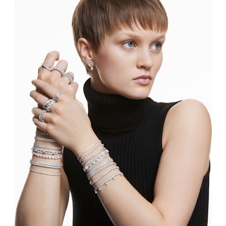 Tennis Deluxe 手鏈, 白色, 鍍銠 - Swarovski, 5409771