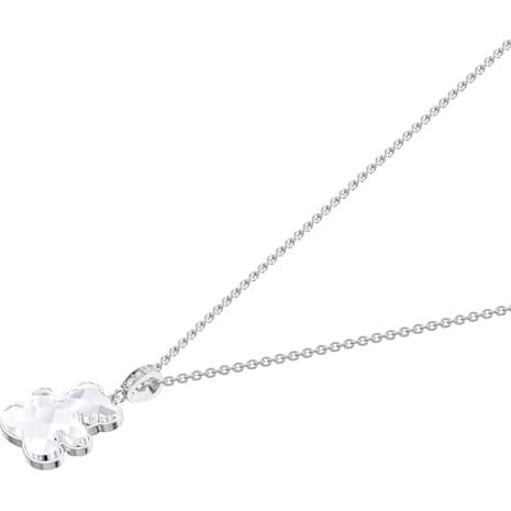 Teddy Pendant, White, Rhodium plated - Swarovski, 5410280
