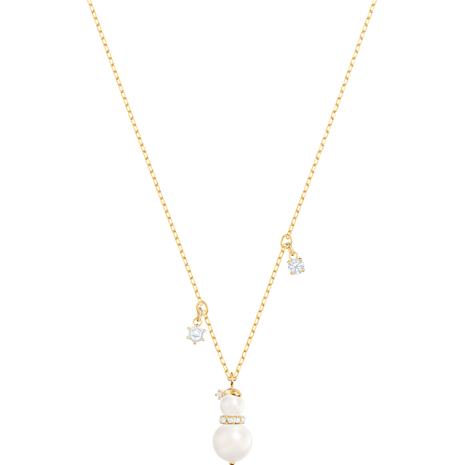 Little Snowman Pendant, White, Gold-tone plated - Swarovski, 5410652