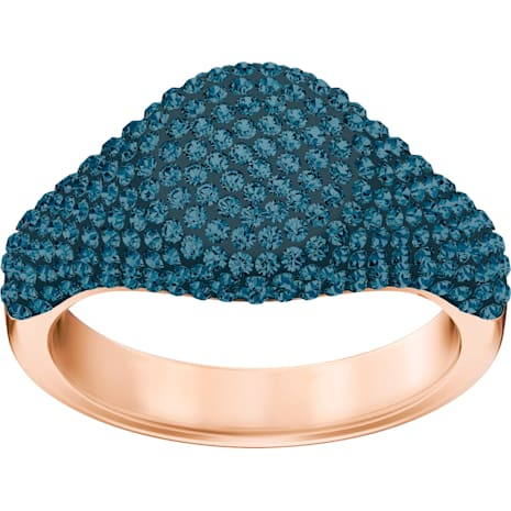 Stone Signet Ring, Blue, Rose-gold tone plated - Swarovski, 5412042