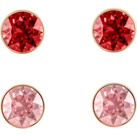 Madyson Pierced Earring Set, Red, Rose-gold tone plated - Swarovski, 5414601